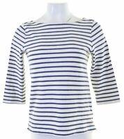 JACK WILLS Womens Top 3/4 Sleeve UK 8 Small Blue Striped Cotton  FI05