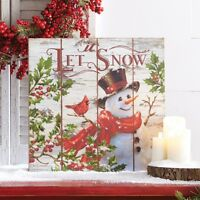 "RAZ Imports~18"" WINTER SNOWMAN~Let It Snow~Wood Wall Art~Christmas Decor/Picture"