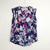 Rebecca Taylor 100% Silk Floral Sleeveless Tank Blouse Top Blue Womens Size 8