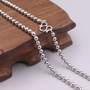 """Pt950 Platinum Lucky Smooth Beads Link Chain Necklace 21""""L 24-25g 3.5mmW"""