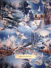 Owl Birds Night Fly Trees Scenic Cotton Fabric QT #23595-W Silent Flight YARD