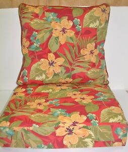 Outdoor Deep Seat Cushion Set ~ Red Floral ~ Back 24x24x6 Seat 24x24x5.25 NEW
