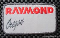 "RAYMOND OREGON EMBROIDERED SEW ON PATCH FORKLIFT UNIFORM HAT 4 1/4"" x 2 1/2"""