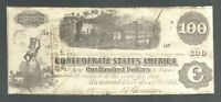 1862 $100 DOLLAR CONFEDERATE STATES CURRENCY CIVIL TRAIN NOTE CSA PAPER