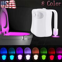 Bathroom Bowl Toilet Night Light 8 Color LED Motion Activated Sensor Seat Lamp