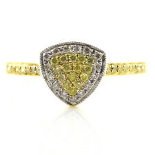 Real 0.30ct Natural Fancy Yellow Diamonds Engagement Ring 18K Solid Gold 6G