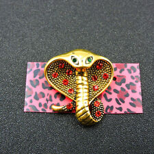 Betsey Johnson Charm Brooch Pin Gift New Charm Bling Red Crystal Cute Snake