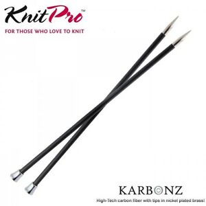 KnitPro 35cm Karbonz Brass Tip Knitting Needles Carbon Fibre Single Pointed