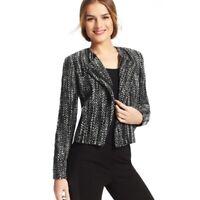 NWT CAbi Sz 4 Full Zip Boucle Tweed Wool Moto Blazer Herringbone Jacket Womens s