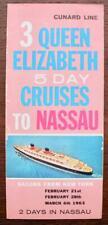 CUNARD WHITE STAR LINE RMS QUEEN ELIZABETH NASSAU 1963 FOLD OUT FLYER BROCHURE