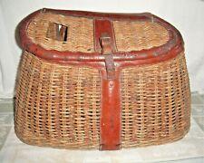 Vintage Large Fishing Angler Creel Basket, Wicker, Leather Trim, Old Closure
