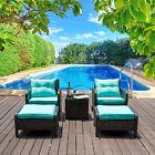 5PCS Patio Furniture Outdoor Wicker Rattan Sofa Cushion Conversation Set Garden