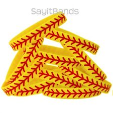 10 Softball Theme Wristbands. Quality Debossed Color Filled Wrist Band Bracelets