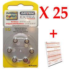 25 plaquettes de 6 piles auditives 10 (jaune) RAYOVAC PR70 d'appareils auditifs