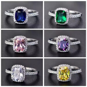 Womens 925 Sterling Silver Filled Zircon Crystal Engagement Rings