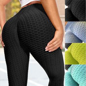 Womens Anti-Cellulite Leggings Fitness Yoga Pants Solid Butt Lift Gym Elastic