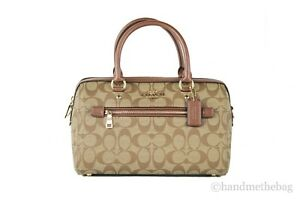 Coach Signature Leather Rowan Medium Satchel Handbag Bag Purse