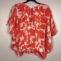 DVF Floral Silk Sheer Blouse Women's Diane Von Furstenberg Red White Size P