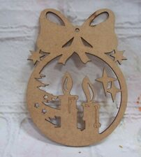 Candle  Christmas Bauble Tree Decoration MDF Craft Blank Varied QTY
