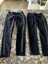 2 pair Bebe Sport Black Legging Pants with metallic studs - Size XS