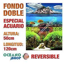 FONDO 120x50cm DOBLE CARA REVERSIBLE DECORATIVO ACUARIO ISLA PECES PLANTAS D408