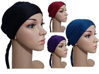 *TIEBACK Underscarf* Under Scarf Bonnet Tie Back Cap Hijab Head Scarf Chemo Hat