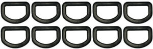 """10 pcs 3/4"""" DEE D Ring D-Ring DRing - Black Plastic - Shipped from USA"""