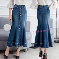 New Women's Denim Mermaid Button Fishtail Skirts Flared Casual Long Jean Jackets