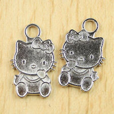 10pcs Tibetan silver hello KITI CAT charms H0171