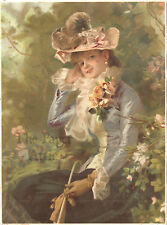 5x7 Beautiful Victorian Woman Impressionist Style Antique French Chromo Print