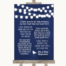 Wedding Sign Poster Print Navy Blue Watercolour Lights Romantic Vows