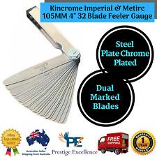 """New Kincrome 412092 -Imperial & Metirc 105MM 4"""" 32 Blade Feeler Gauge Dual Steel"""