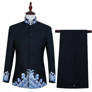 Mens Embroidery Spindrift Stand collar Chinese Style 2PCS Coats Jackets Pants sz