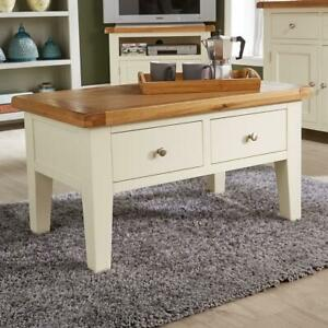 Modern White Solid Wood 2 Drawer Rectangle Coffee Table Living Room Furniture