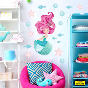 Mermaid wall stickers decals kids girls sea ocean fairytale bedroom merm3.