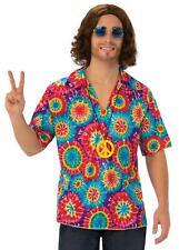 Adult Mens 60s 70s Hippy Hippie Groovy Top Shirt Disco Retro Fancy Dress Costume