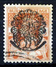 BURMA JAPANESE OCCUPATION 1942 Peacock Overprint on 1 Pie Orange-Red SG J25 VFU