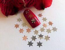 50pc Nail Art Sliver Rose Gold Christmas Snowflakes Small Thin Metal Spangle SF2