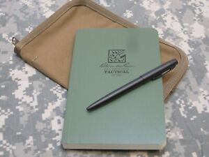 MILITARY WATERPROOF NOTEBOOK w/ PEN & COYOTE BROWN COVER ALL WEATHER NOTEPAD