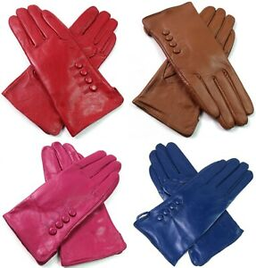 Womens Premium Quality Genuine Super Soft Real Leather Gloves Different Colours