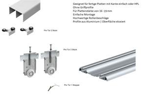 3 flg. Schiebetür Bausatz, einfache Montage  für 16 - 19 mm Plattenmaterial