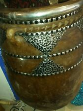 Large Moroccan decorated terracotta urn/ pot.