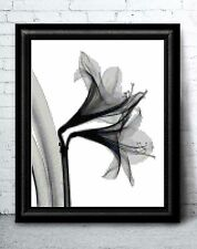Whimsical Modern Lily Flower in Black and White Counted Cross Stitch Pattern