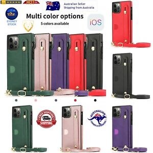 For iPhone Shockproof Protective Case with Crossbody Lanyard & Holder &Card Slot