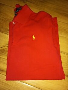 Ralph Lauren Polo Shirt Mens Custom fit Size L,  Red with Yellow Logo.