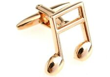 Music Note Cufflinks Beamed Banded Gold Wedding Fancy Gift Box Free Ship USA
