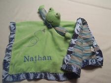"Green Frog Security Blanket Mary Meyer Baby Lovey  Stuffed Animal  ""NATHAN"""