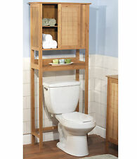 Bamboo Over the Toilet Open Shelf Storage Bathroom Space Saver w/ Towel Cabinet