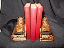 Stunning VINTAGE Cast Bronze (NOT Resin)  Pair Copper Iron Baby Shoe Bookends