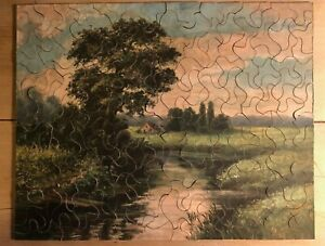 VINTAGE TUCK'S TIPPE-TOPPE WOODEN JIGSAW - 'THE MEADOW POND' - WITH ORIGINAL BOX